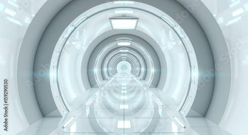 Bright futuristic spaceship corridor 3D rendering