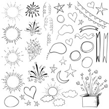 Collection Of 47 Elements. VECTOR Black Illustration Isolated On White.