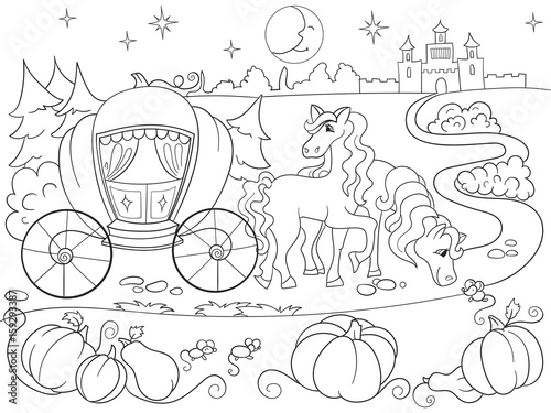 Cinderella fairy tale coloring book for children cartoon ...