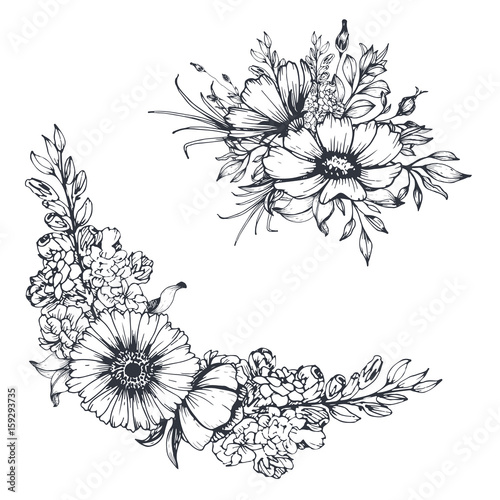 Vector hand drawn flowers. Sketch floral bouquet and border