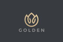 Gold Flower Abstract Logo Vector Linear Fashion Jewelry Icon