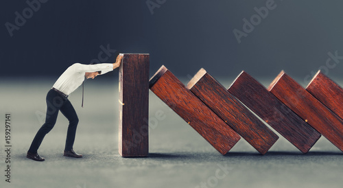 фотографія  Wooden dominoes on grey table
