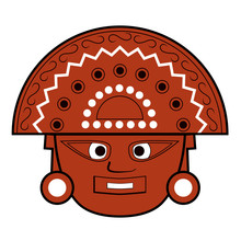 Brown Inca Totem Face Illustra...