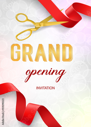 Obraz na plátně Grand Opening Lettering and Scissors