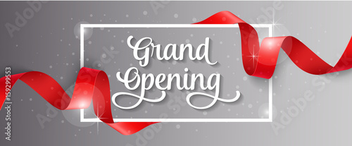Fotografía  Grand Opening Lettering, Frame and Ribbon