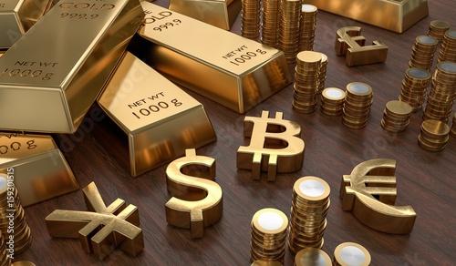 Fototapeta 3D rendered illustration of gold bars and golden currency symbols. Stock exchange and banking concept. obraz