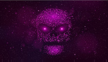 A Large Purple Skull Made Of Binary Code Symbols In Outer Space. Hackers Broke The Computer System. Fantastic, Purple Starry Sky. Burning Eyes. Vector Illustration