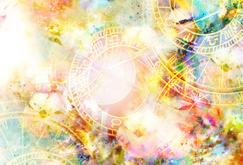 FototapetaZodiac collage in cosmic space. Abstract color background.