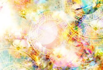 Fototapeta Znaki Zodiaku Zodiac collage in cosmic space. Abstract color background.