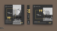 Abstract Patch Brochure Cover Design. Black Info Data Banner Frame. Techno Title Sheet Model Set. Modern Vector Front Page Art. Urban City Blurb Texture.Yellow Citation Figure Icon. Ad Flyer Text Font