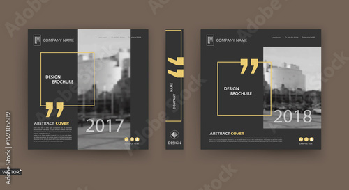 Fototapeta Abstract patch brochure cover design. Black info data banner frame. Techno title sheet model set. Modern vector front page art. Urban city blurb texture.Yellow citation figure icon. Ad flyer text font obraz