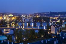 Skyline Of Prague With A View Of The River Vltava And Bridges Seen From Letna Hill. Prague, Czech Republic.