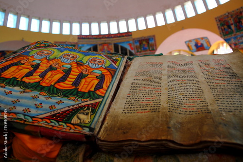 Beautiful Illustrated Ancient Bible in Ethiopian Church Canvas Print