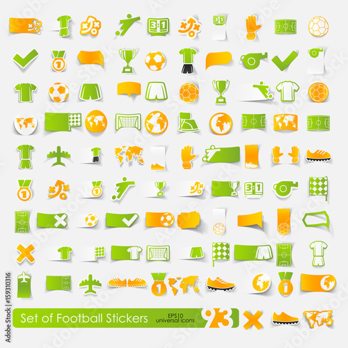 Set of football stickers Wall mural
