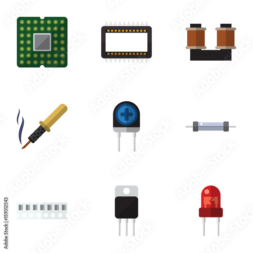Flat Icon Technology Set Of Transducer, Resistor, Memory And