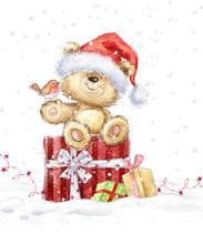 Cute Teddy Bear With Christmas Gifts In The Santa Hat. Hand Drawn Teddy Bear.Christmas Greeting Card. Merry Christmas. New Year