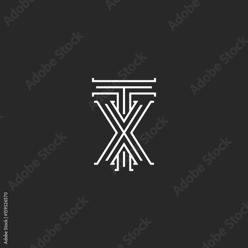 tx letters logo medieval monogram intersection lines shape xt initials wedding card emblem x t
