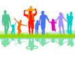fröhliche Eltern Gruppe mit Kinder