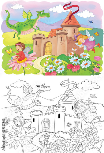 Poster de jardin Oiseaux en cage Fairy tale. Coloring book. Coloring page. Cute and funny cartoon characters