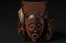 African Wooden Mask With Hair,...