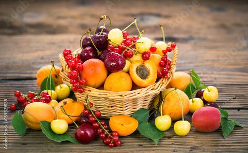 Foto op Aluminium Vruchten Fresh summer fruits in the basket