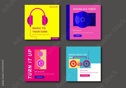 Four Colorful Square Music Social Media Post Layouts Buy This Stock - Template for social media posts