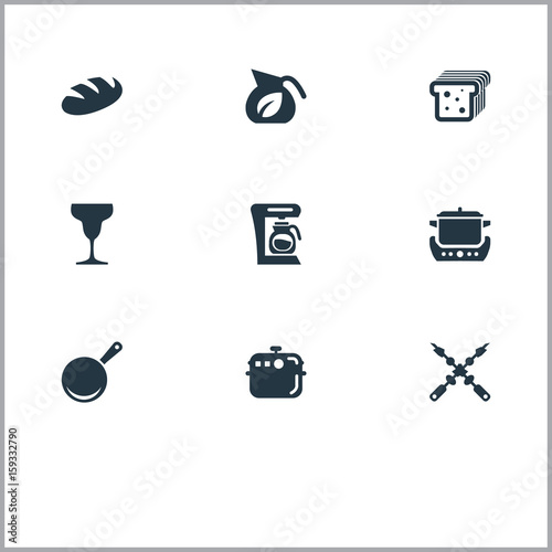 Vector Illustration Set Of Simple Kitchen Icons Elements Coffee