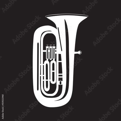 Tuba flat vector illustration Wallpaper Mural