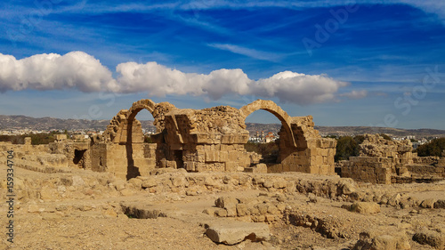 Foto op Plexiglas Cyprus Ancient ruins of Kourion city near Pathos and Limassol, Cyprus. Santa Colones Castle ruins with blue sky. Travel outdoor background