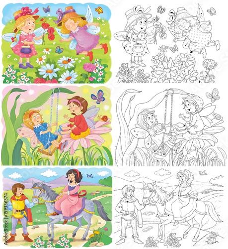 Fairy tale. Coloring book. Coloring page. Cute and funny ...