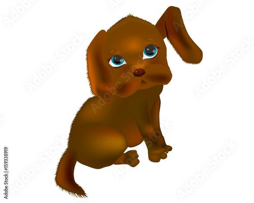Very cute baby dog. Vector illustration. Canvas Print
