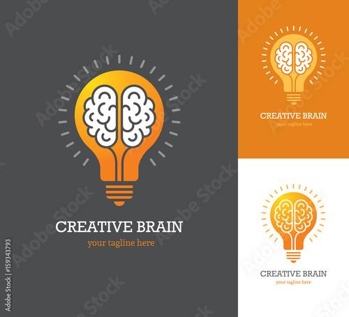 Bright logo with linear brain icon inside a light bulb. Canvas Print