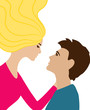 Flying woman embraces man, coloured vector picture
