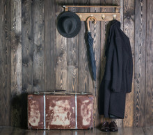 Hanger With Clothes, Old Suitcase