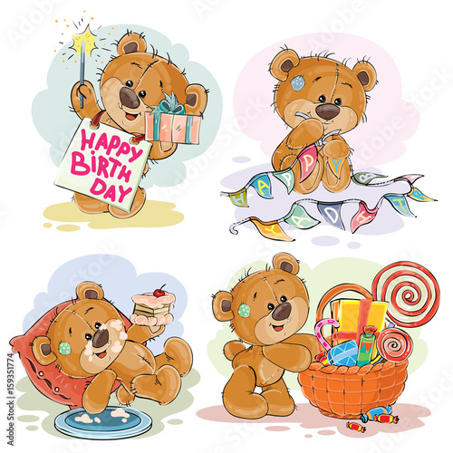 Set of vector clip art illustrations of brown teddy bear wishes you a happy birthday. Print, template, design element for greeting cards #159351774