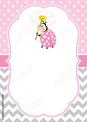 Vector Card Template With A Cute Ladybug On Chevron And Polka Dot Background