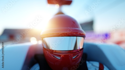 Poster F1 Racer of formula 1 in a racing car. Race and motivation concept. Wonderfull sunset. 3d rendering.
