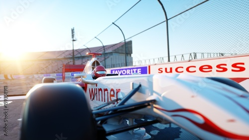 Staande foto F1 Racer of formula 1 in a racing car. Race and motivation concept. Wonderfull sunset. 3d rendering.