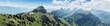Panorama Hoher Kasten und Alpstein Berge mit dem Seealpsee. Appenzell, Schweiz