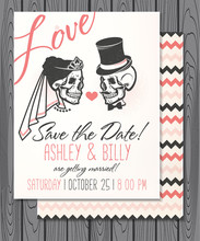 Vector Illustration With Skulls Of Bride And Groom.