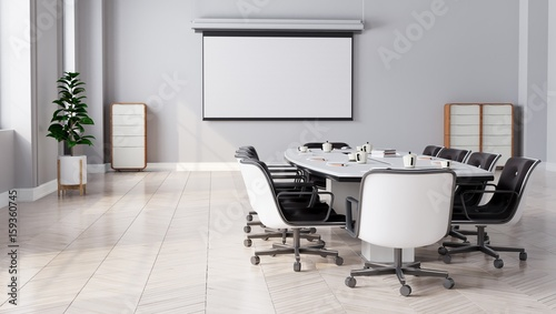 Fotografie, Obraz  Modern Meeting Room with projector screen