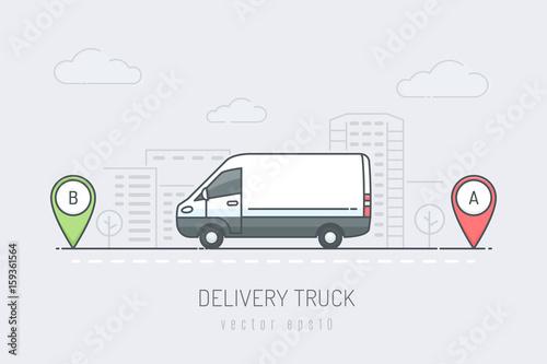 Samochód dostawczy na drodze po mieście oznaczony marką A i B. Ilustracja wektorowa w stylu kolor linii sztuki