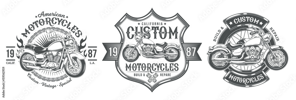 Fototapeta Set vector black vintage badges, emblems with a custom motorcycle. Print, template, advertising design element for the motor club, motorcycle repair shop