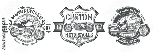 Fotomural Set vector black vintage badges, emblems with a custom motorcycle