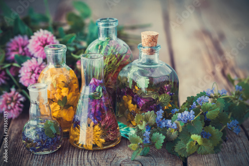 Photo  Bottles of tincture or infusion of healthy herbs, healing herbs on table