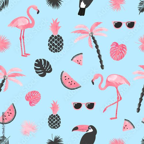 tropikalny-modny-wzor-z-akwarela-flaming-plasterki-arbuza-i-lisci-palmowych-bezszwowe-tlo-wektor-lato