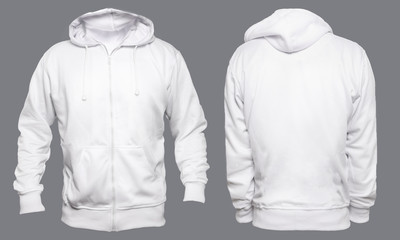 Blank sweatshirt mock up template, front, and back view, isolated on gray, plain white hoodie mockup. Hoody design presentation. Jumper for print. Blank clothes sweat shirt sweater
