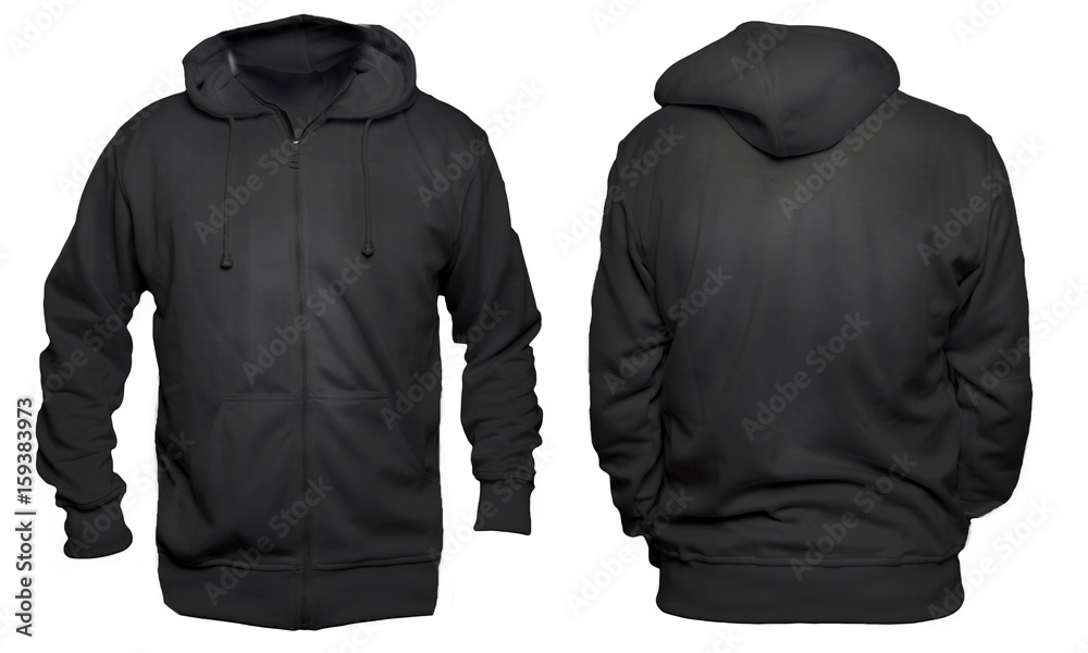Fototapeta Blank sweatshirt mock up template, front, and back view, isolated on white, plain black hoodie mockup. Hoody design presentation. Jumper for print. Blank clothes sweat shirt sweater