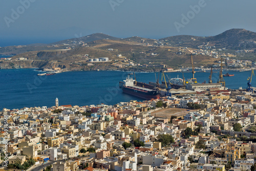 Poster Algérie Panoramic view to City of Ermopoli, Syros, Cyclades Islands, Greece