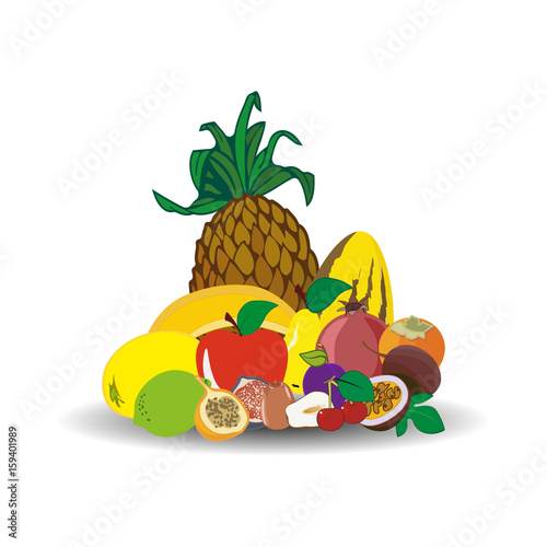Foto op Canvas Vogels in kooien Fresh juicy fruit isolated on white background.